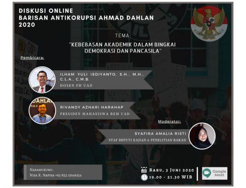 BAKAD Menggelar Diskusi Online yang membahas Kebebasan Akademik.