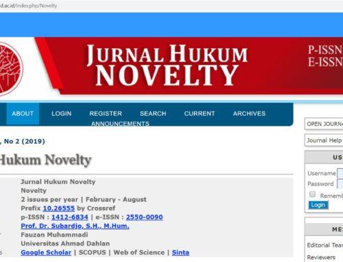 JURNAL NOVELTY FH UAD MENDAPATKAN AKREDITASI SINTA 2