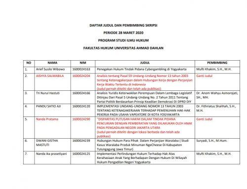 Daftar Sk Dan Kartu Bimbingan Skripsi Fakultas Hukum